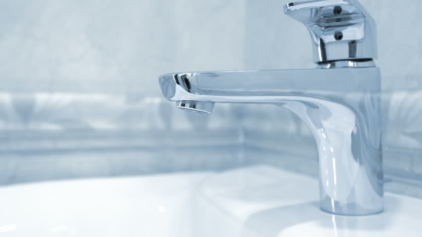 Open Faucet In Bathroom, Water Is Running. Blue Toned Stock Footage ...
