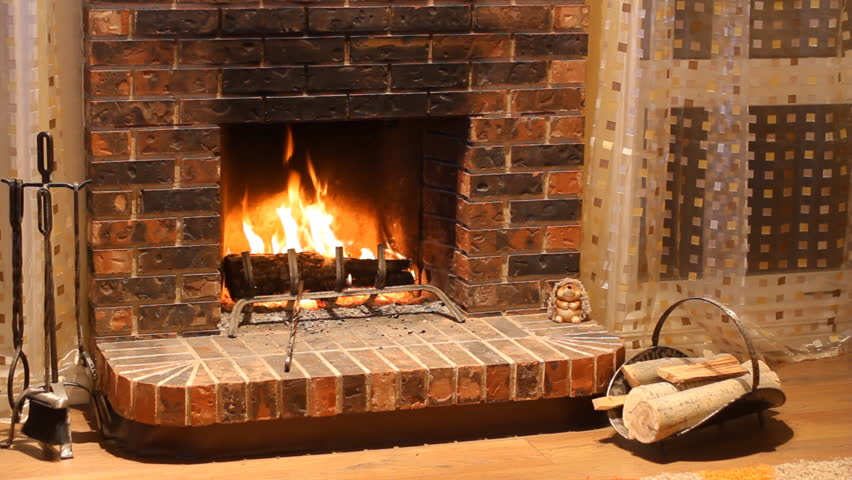 Burning Wood In Stone Fireplace Stock Footage Video 5930771 ...