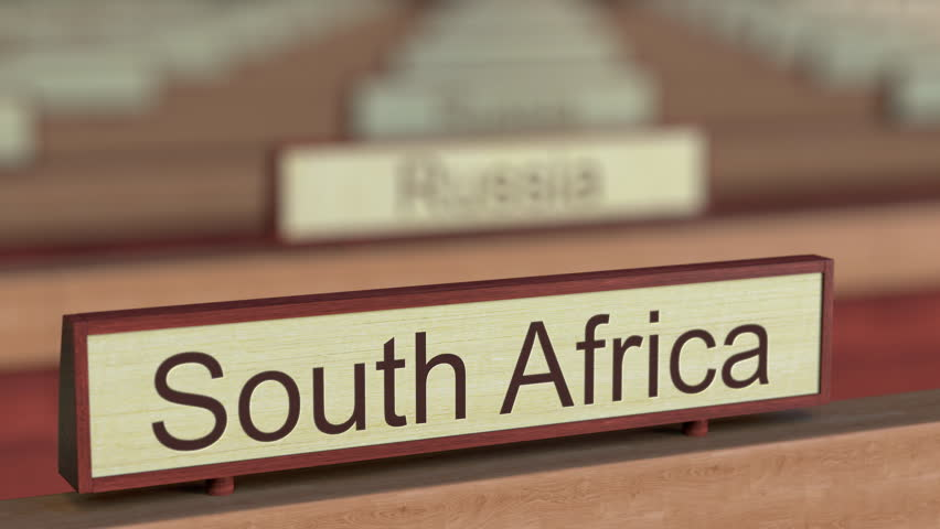 South Africa name sign among different countries plaques at international organization. 3D rendering