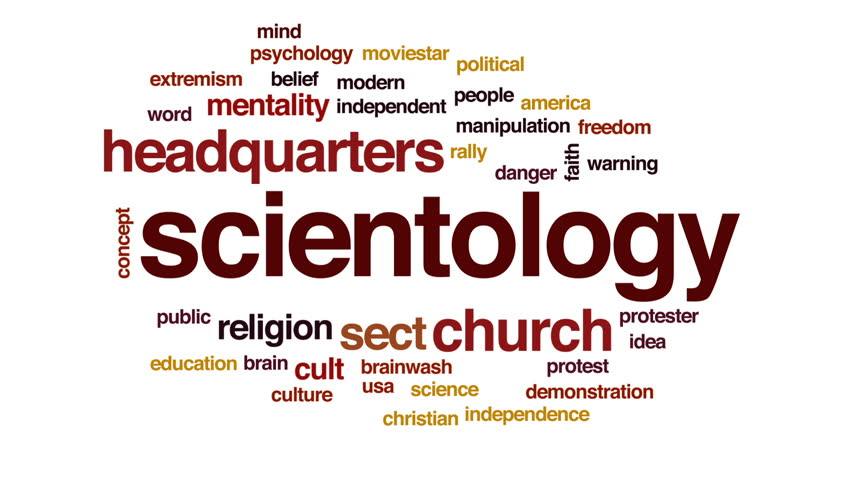 Scientology animated word cloud, text design animation.