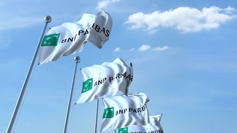 Waving flags with BNP Paribas logo against sky, seamless loop. 4K editorial animation