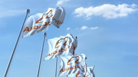 Waving flags with Alibaba logo against sky, seamless loop. 4K editorial animation