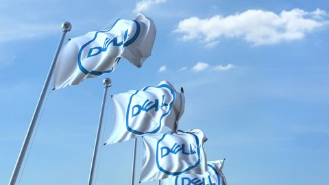 Waving flags with Dell logo against sky, seamless loop. 4K editorial animation