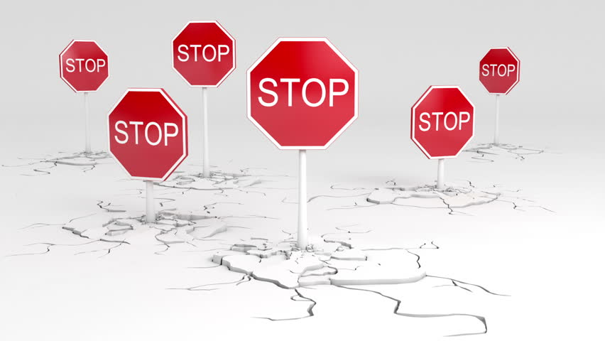 Caution! Stop sign animation. Two versions - with and without a depth of field