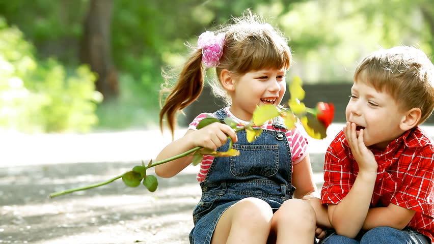 Sisters stock video footage sisters hd video clips bigstock two child speaking and boy present flower thecheapjerseys Image collections