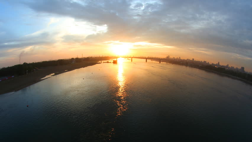 Sunset at the river. Time lapse.   Shutterstock HD Video #3002068