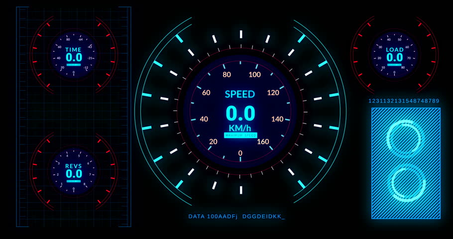 Head up display of  futuristic car interface with speed,distance indicators.Electric car interface cockpit with autopilot function.  | Shutterstock HD Video #30023038