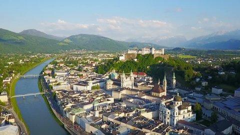 Salzburg city aerial panoramic view in Salzburg region of Austria