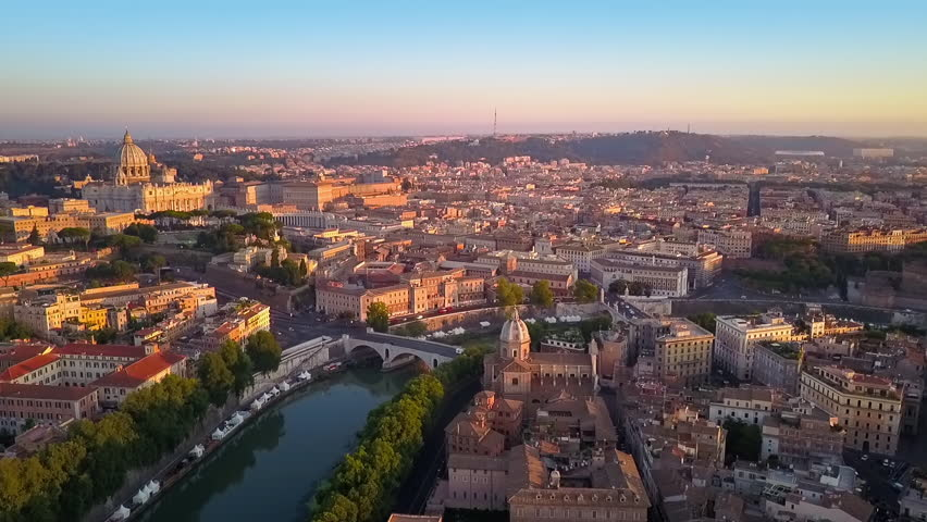 rome aerial view flying to st. peter church at sunrise cut two
