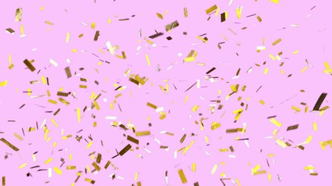 Party vibes! Trendy, colorful, modern looking, and loopable. Gold confetti drifts over a pink background. Ticker tape falls slowly and completely clears frame. See portfolio for similar and more!