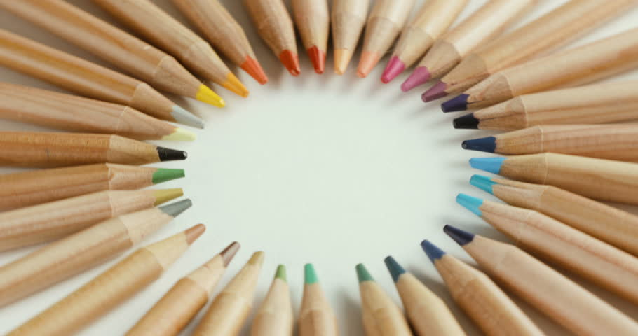 Color pencils joined at the top turning on a white background | Shutterstock HD Video #30076438