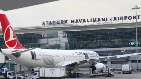 Istanbul, Ataturk Airport. CIRCA June 2017: Terminal of Ataturk Airport and Planes parked.