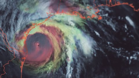 Hurricane Harvey as seen just prior to making landfall. Animation with composited radar coloring for a unique look and style. 4K UHD animation.