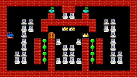 Train puzzle, retro style low resolution pixelated game graphics animation, level 11