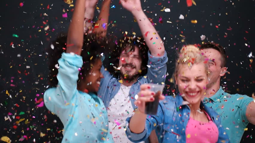 Mixed race people celbration and party with confetti shower | Shutterstock HD Video #30205948