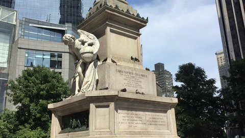NEW YORK CITY, USA - AUGUST 26, 2017: Mayor considers Christopher Columbus statue removal amid drive to remove controversial monuments following violence in Charlottesville sparked white nationalists