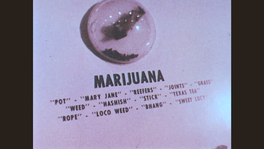 1970s: Marijuana. Girl stands in smoke. Boys stand in smoke. Bulletin board about drugs. Display case with drugs. Pipes. Heroin warning poster. Bongs and pipes. Boy stares. Girl stares. Boy thinks.