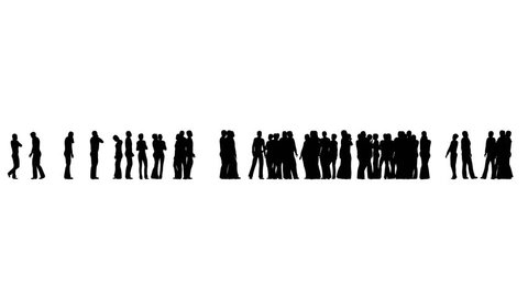 Silhouette of people standing and waiting and talking on white