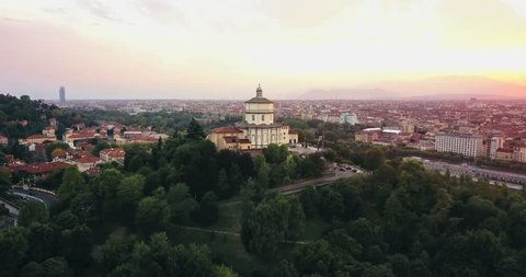 Sunset on Monte dei Cappuccini in Turin Italy shot with a drone