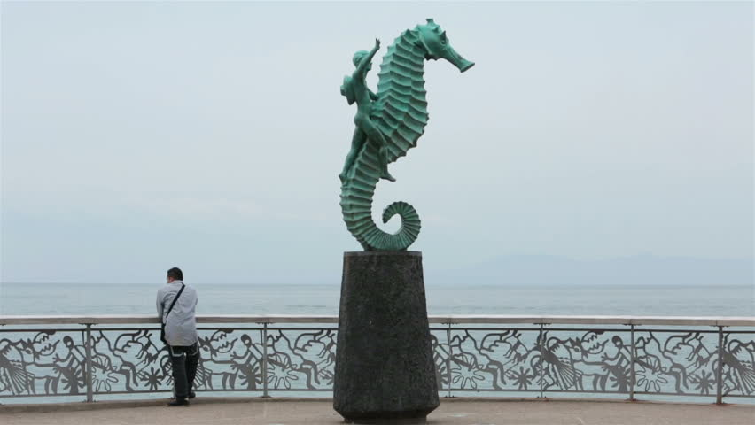 PUERTO VALLARTA, MEXICO - CIRCA NOV 2012: Malecon Boardwalk seahorse sculpture circa November 2012 in Puerto Vallarta, Mexico.
