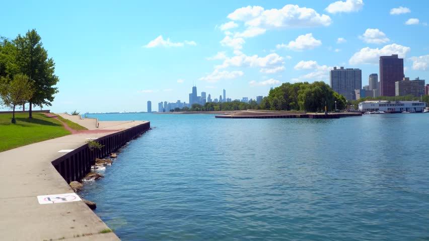 Motion video Chicago lakefront walkway | Shutterstock HD Video #30348745