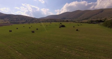 Aerial Hay Rolls On The Stock Footage Video 100 Royalty