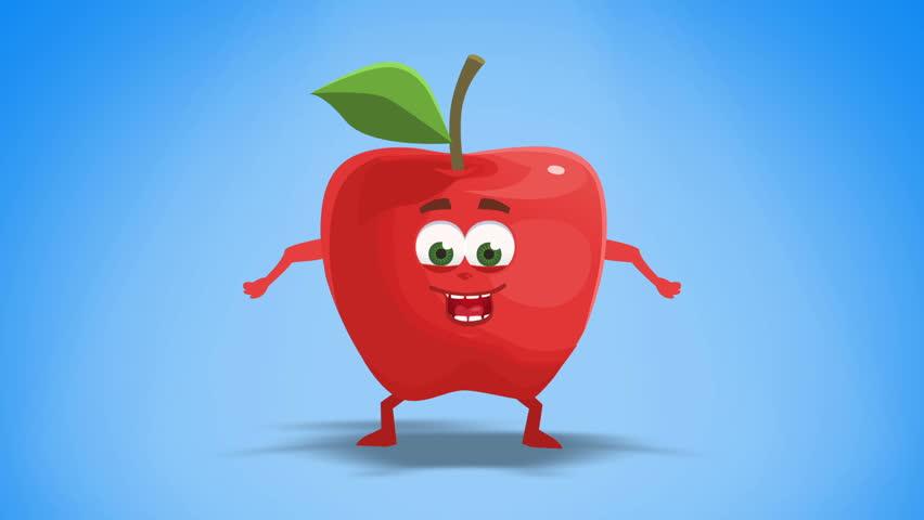 Cartoon Apple Character Animation Glad, Happy, Yeah