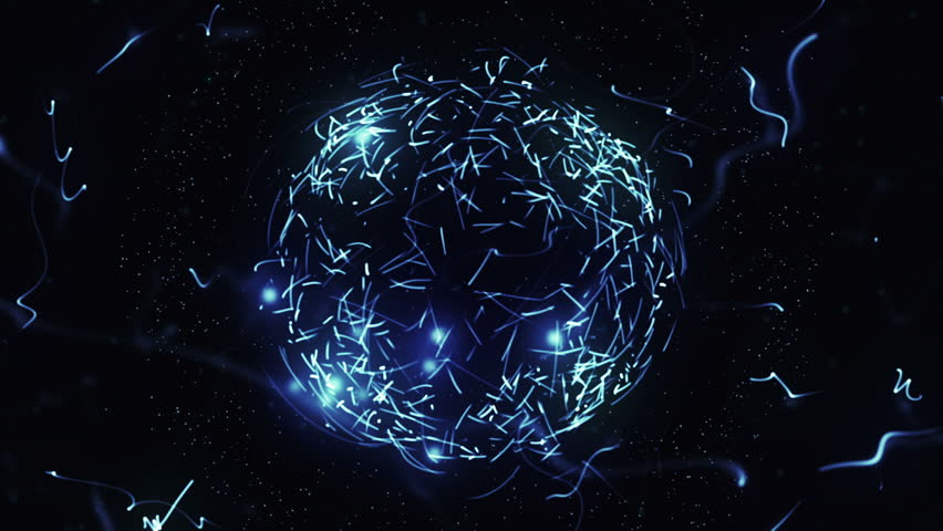 Blue sphere in space with glowing particles. Abstract background. Loop video. Seamless. Beautiful background with particles. Isolated sphere on black background with particles | Shutterstock HD Video #30362488