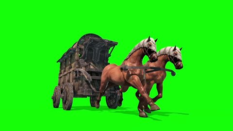 Carriage Horses Run Front Green Screen 3D Rendering Animation