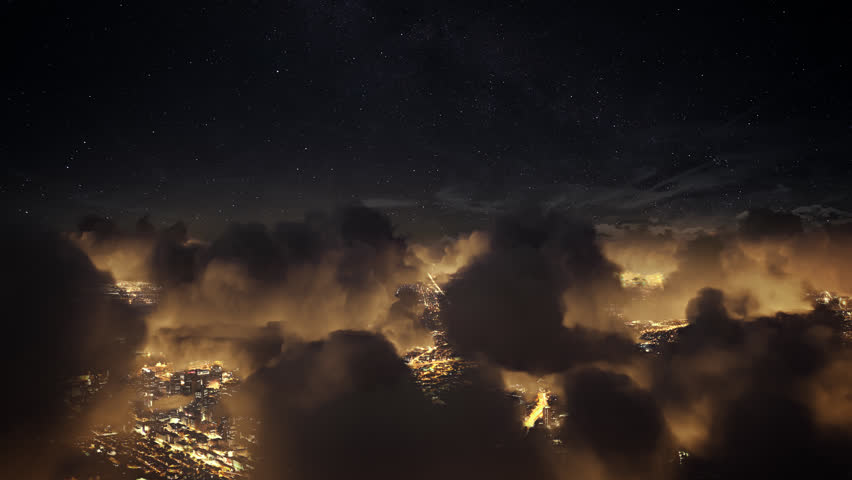 Flying over the deep night timelapse clouds with dark sky. Seamlessly looped animation. Flight through moving cloudscape over night city lights. Perfect for cinema, background, digital composition. | Shutterstock HD Video #30396358