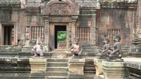SIEM REAP, CAMBODIA- JUNE, 30 2017: morning shot of the main sanctuary of banteay srei temple in angkor, cambodia