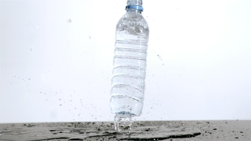 Water bottle rebounding in super slow motion
