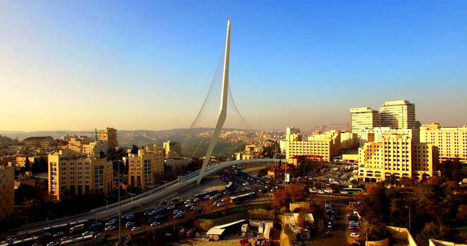 Israel Aerial drone Gesher HaMeitarim The Chords Bridge Jerusalem Strings