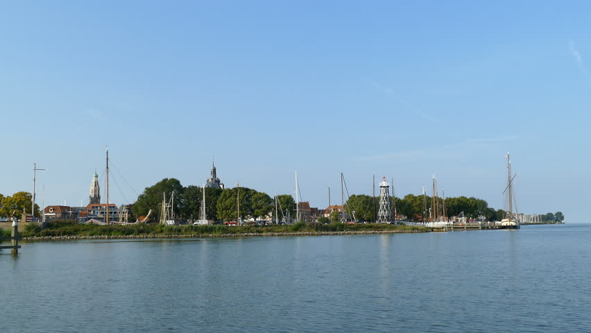 The skyline of the fishing village Enkhuizen harbor