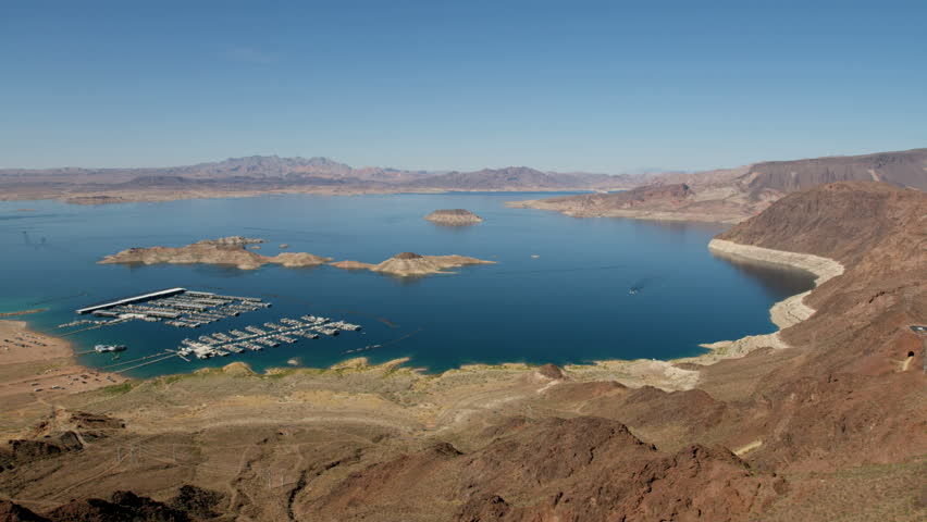 Aerial landscape view of Las Vegas Bay boat Marina Lake Mead a desert valley a remote Wilderness a travel destination Las Vegas Nevada USA RED WEAPON | Shutterstock HD Video #30456598