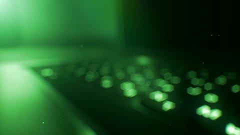 Green computer notebook laptop keyboard presentation