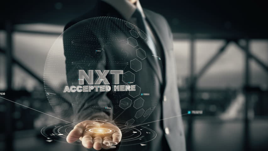 Nxt Accepted Here with hologram businessman concept