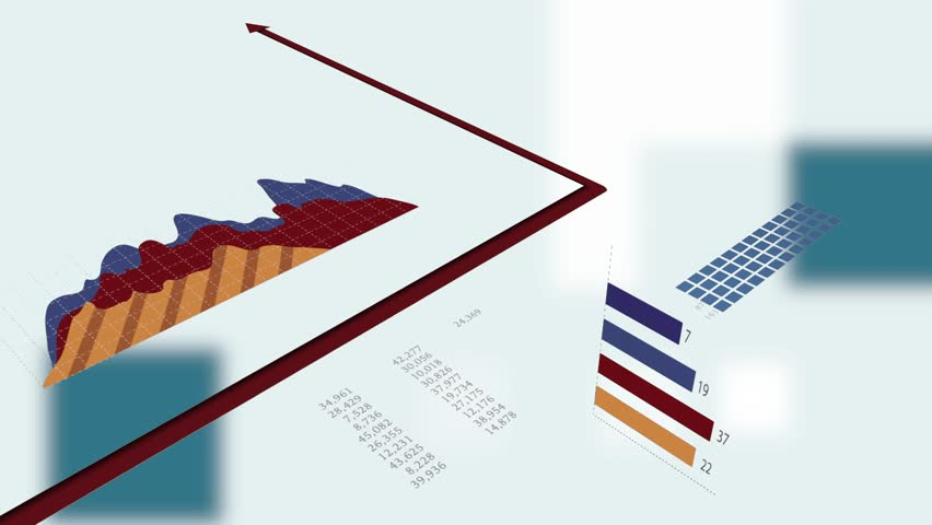 Financial Sales Data Charts Diagrams Animated Over Business Concept