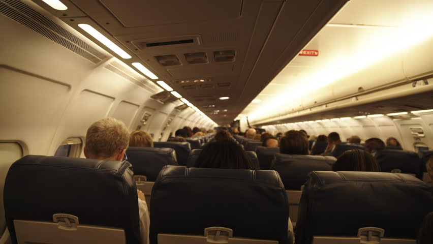 Us airways interior flight circa 2013interior airplane point airplane interior view with unrecognizable passengers seated hd stock video clip sciox Gallery