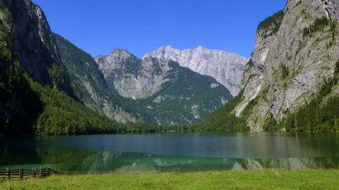 View of the Obersee Lake behind the Watzmann massif, Salet am Koenigssee, Berchtesgaden National Park, Bavaria, Upper Bavaria, Germany, Europe