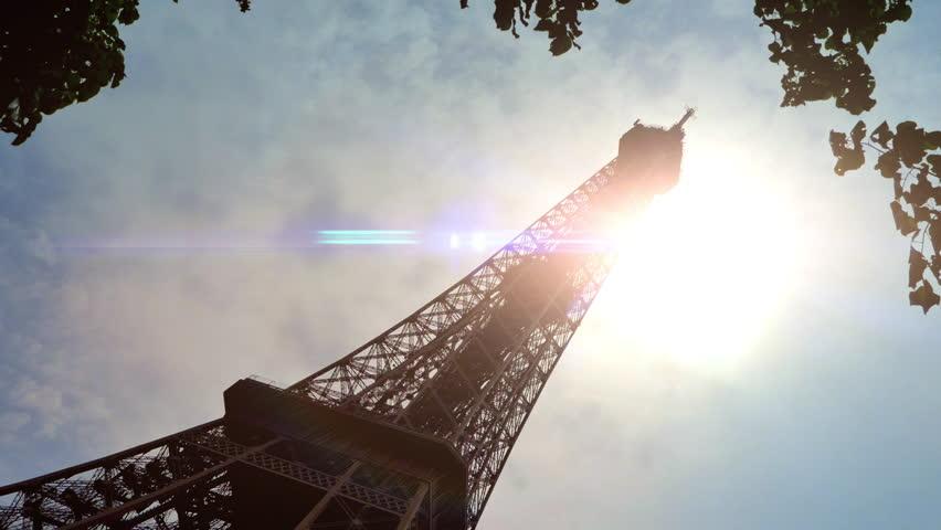 4K Paris Eiffel Tower, Sun Lens Flare, France Skyline Architecture Cityscape