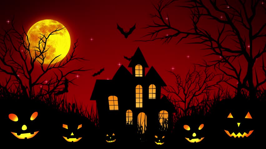 Halloween background animation with the concept of Spooky Pumpkins, Moon and Bats and Haunted Castle. | Shutterstock HD Video #30577738