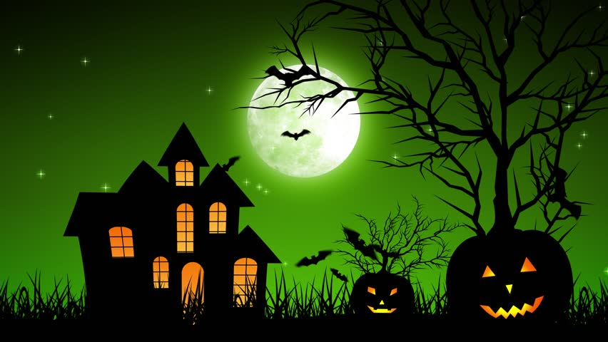 Halloween background animation with the concept of Spooky Pumpkins, Moon and Bats and Haunted Castle. | Shutterstock HD Video #30577768