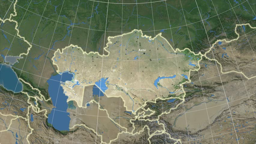 The Uzbekistan Area Map In The Azimuthal Equidistant Projection