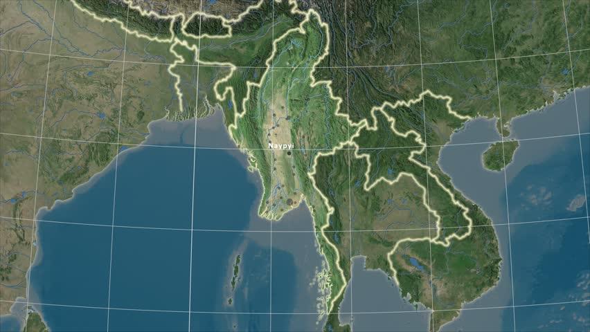 Philippines Shape Animated On The Satellite Map Of The Globe Stock - Satellite image map