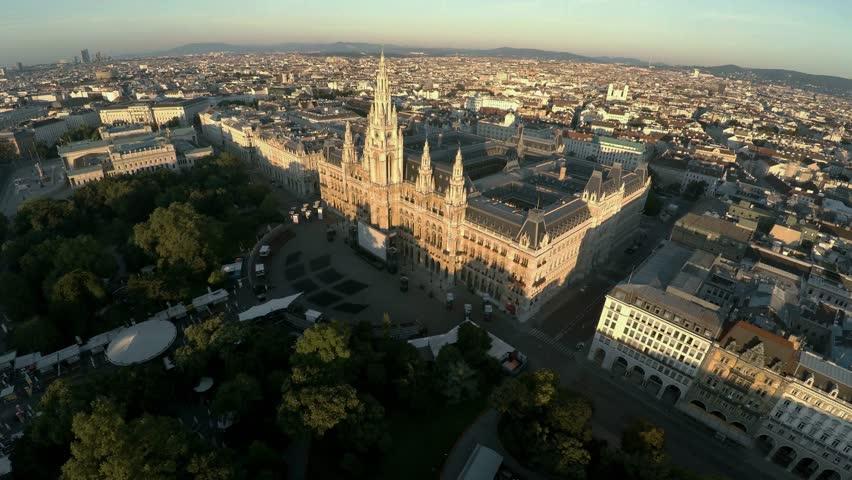 Aerial view. Vein. Vienna. Wien. Vienna City Hall. Rathaus. Austria. Shot in 4K (ultra-high definition (UHD)).