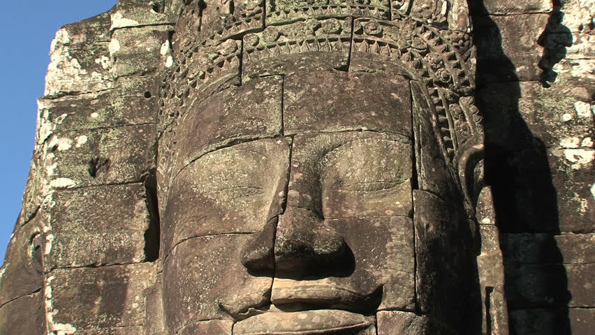 Ankor wat face zoom out, Siem Reap, Cambodia