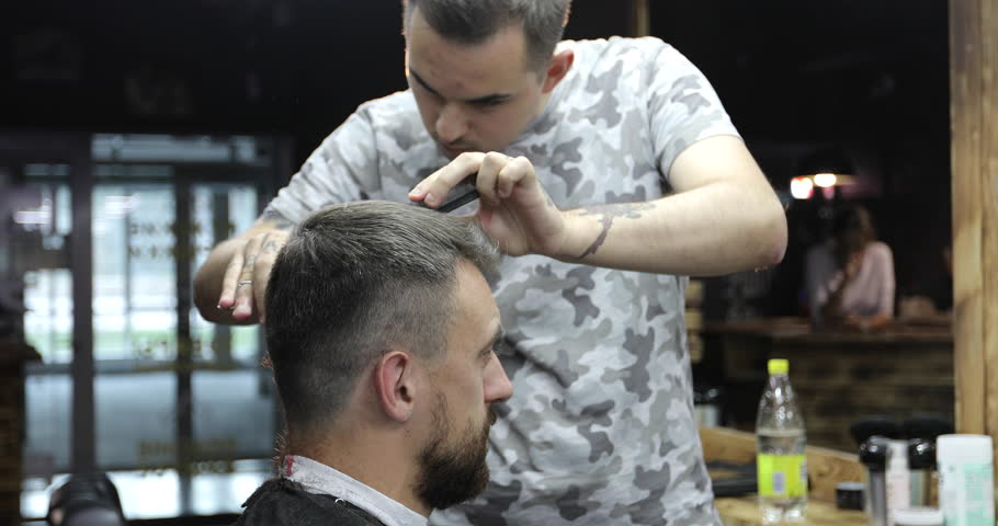Hairdresser Is Cutting Short Hair Stock Footage Video 100 Royalty Free 30682528 Shutterstock