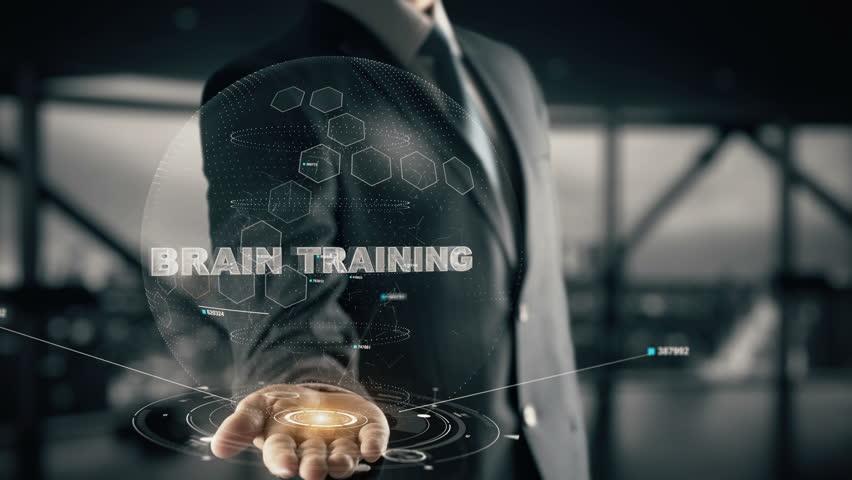 Brain Training with hologram businessman concept