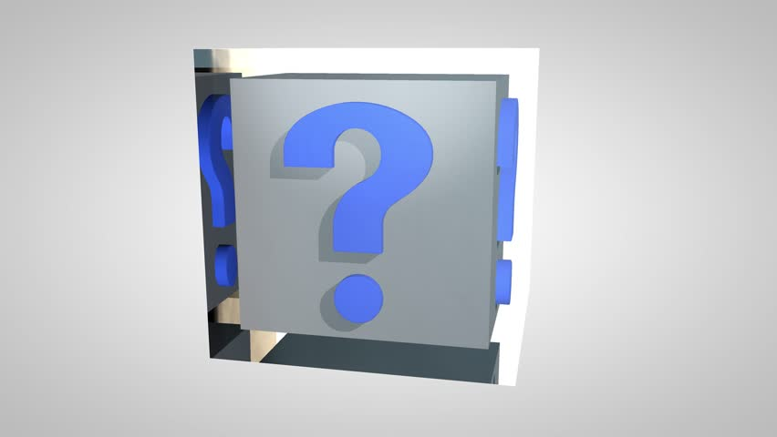 Question marks in a glass cube, 3d animation with alpha-matte | Shutterstock HD Video #30721528